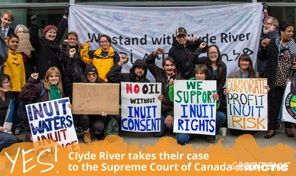 Standing with clyde river Inuit community. Credit: Greenpeace Canada