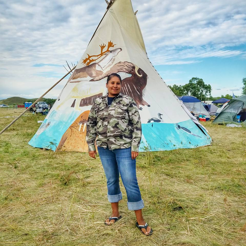 """As a Lakota woman I was raised to protect the land and protect the people. As my ancestors fought to protect my generation, it's my responsibility to protect the NEXT 7th generations. I'm here to protect the water."" - Wanikiya win #NoDAPL #NoPipelines #KeepItInTheGround photo by Dallas Goldtooth"