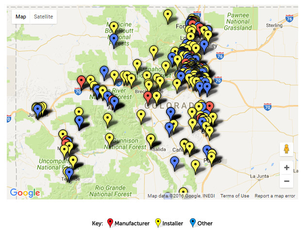 Google map of solar providers in Colorado. Click image for interactive map at SEIA.org