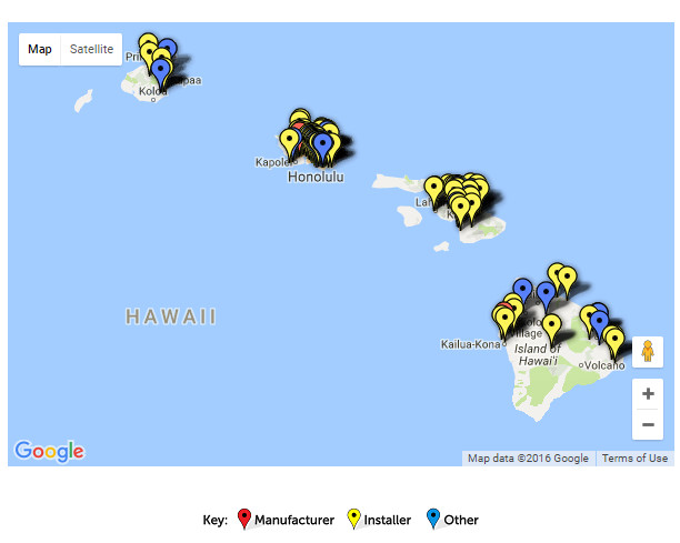 google map of solar in Hawaii from seia.org screenshot
