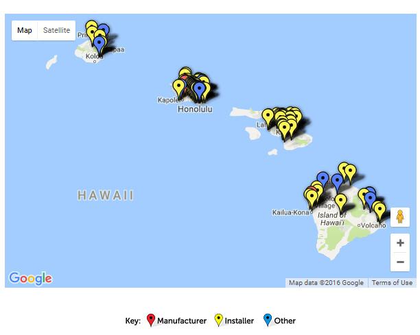 google map of solar in Hawaii from seia.org screenshot