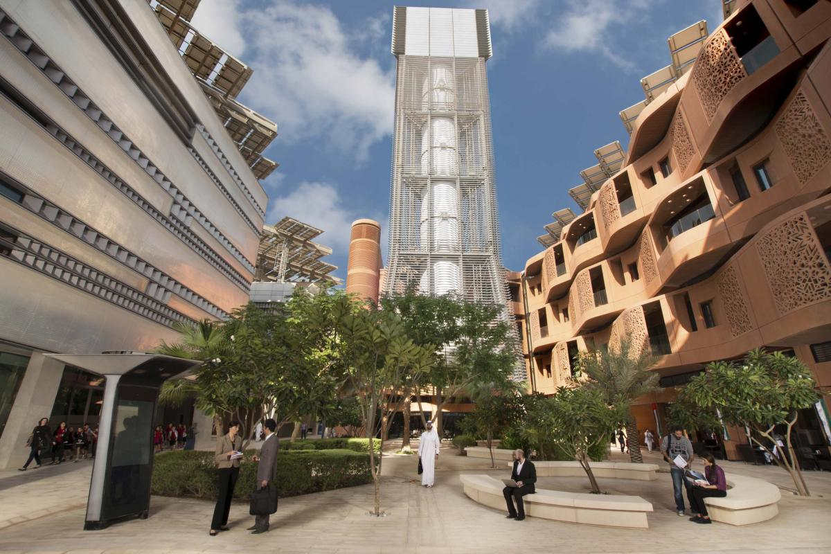 45m wind tower passively cools by capturing and redirecting breezes into the courtyard. Credit: Masdar via cnu.org