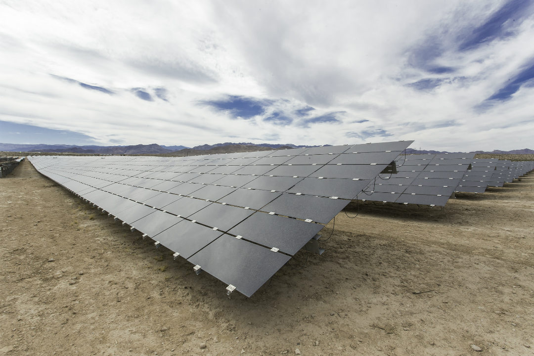 Utility-Scale Solar Plant soaking up the sun's energy on Tribal Land in Clark County, Nevada. Credit: DOI.gov