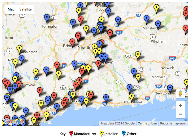 Google map of solar providers in Connecticut. Click image for interactive map at SEIA.org