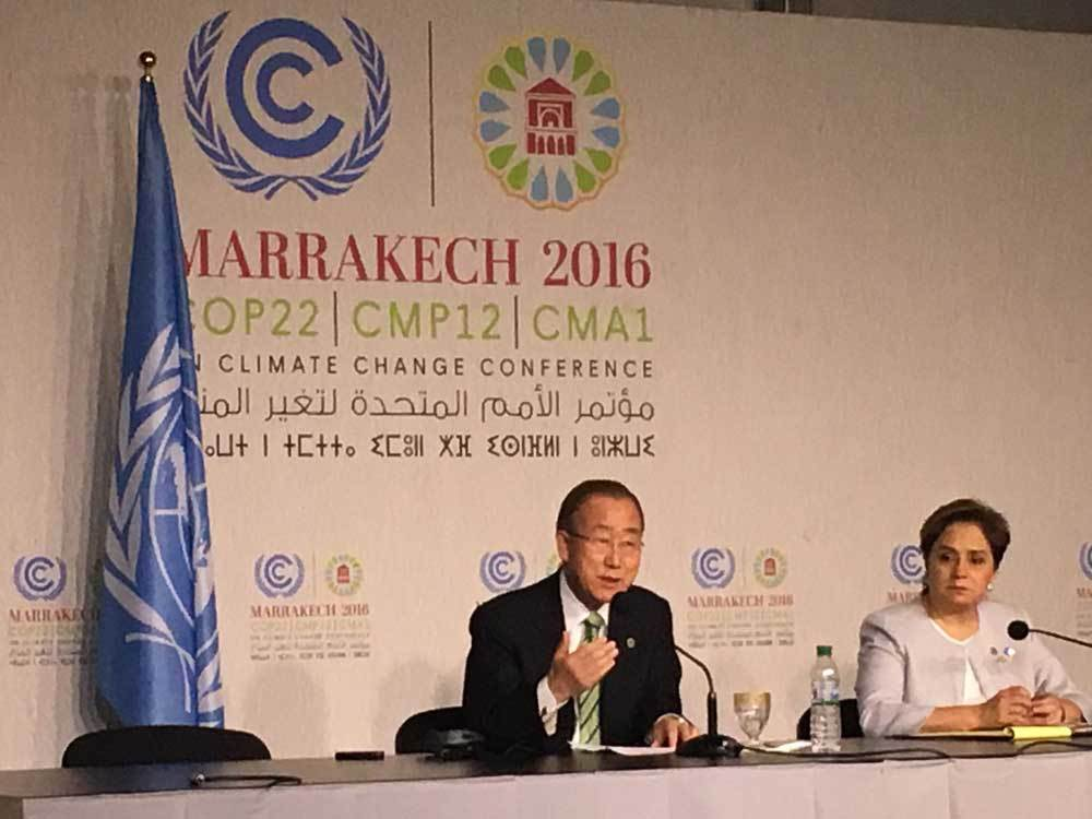 UNSG Ban Ki-moon speaking at the COP22. Credit: UN.org